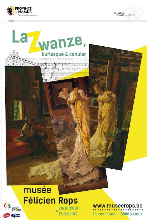 Affiche de l'exposition La Zwanze, burlesque & canular, au musée Félicien Rops, du 20/10/2018 au 17/02/2019