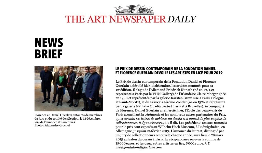 Annonce des artistes nominés au 12e Prix de Dessin Contemporain de la Fondation Daniel et Florence Guerlain