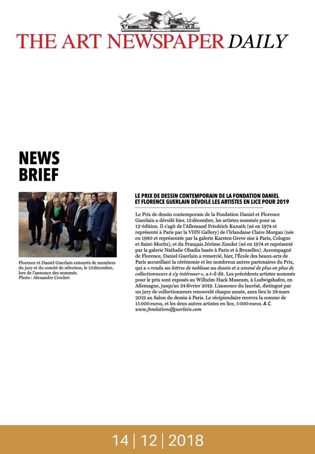 Salon du Dessin 2019, Prix de Dessin contemporain de la Fondation Daniel et Florence Guerlain : les artistes en lice. Article de The Art Newspaper Daily, le 14 décembre 2018