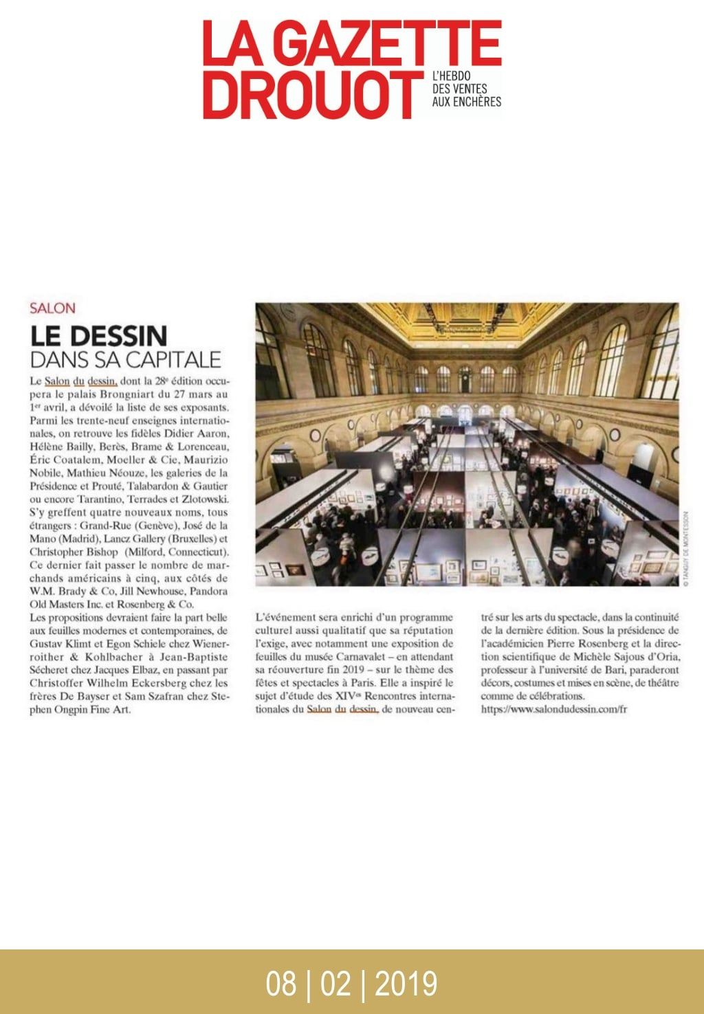 Article de presse du Salon du Dessin 2019 : Gazette Drouot