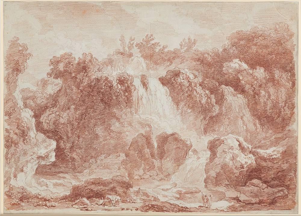 Jean Honoré Fragonard Les cascades de Tivoli - sanguine - Musée des Arts Décoratifs, de la faïence et de la Mode