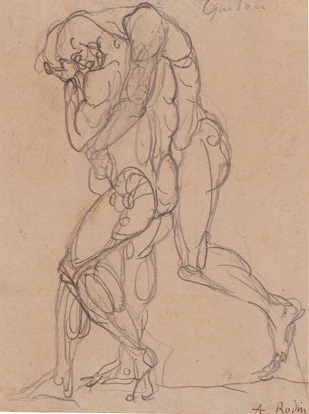 Auguste Rodin, Guidon, vers 1880, graphite sur papier vélin, collé sur papier réglé, 15 x 11 cm (support 16 x 13 cm) Signé à la plume et encre brune « A. Rodin ». Proposé à la vente par la galerie Artur Ramon Art. Estimation 40 000€.