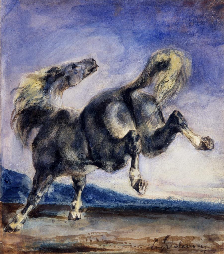 Cheval ruant Eugène Delacroix Aquarelle et gouache Collection Prat Petit Palais