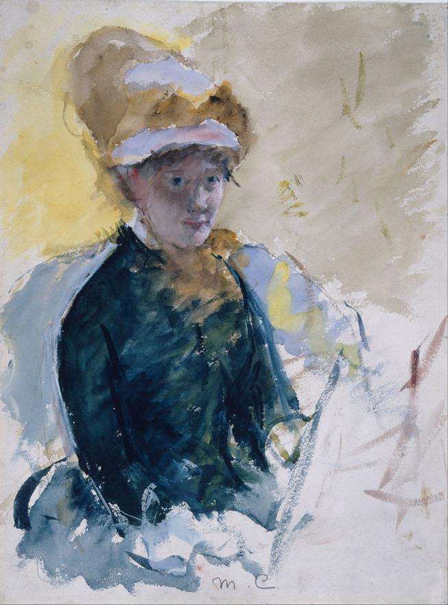 Mary Cassatt, Autoportrait, vers 1880, gouache et aquarelle, National Portrait Gallery de Londres