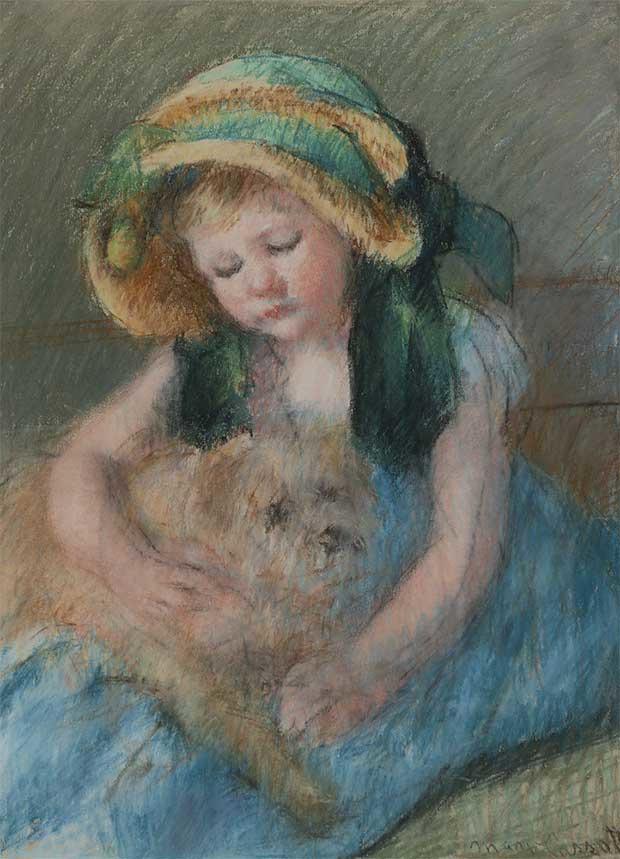 Mary Cassatt, Sara au bonnet avec son chien, vers 1901, pastel sur papier, 57,5 x 43,4 cm 104,5 x 88,5 cm ©Galerie Bailly