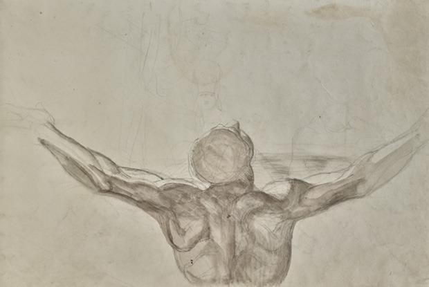 Henry Fuseli, Étude d'homme aux bras levés, lavis gris sur craie noire, 478 x 330 mm ©galerie Eric Coatalem