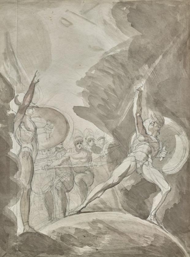 Henry Fuseli, La Psychostasie d'Achille et Memnon, lavis gris, bruns et roses sur crayon, 478 x 330 mm ©galerie Eric Coatalem