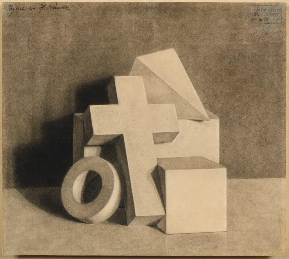 Michel Descours, Vilhelm Hammershøi , Composition de formes géométriques