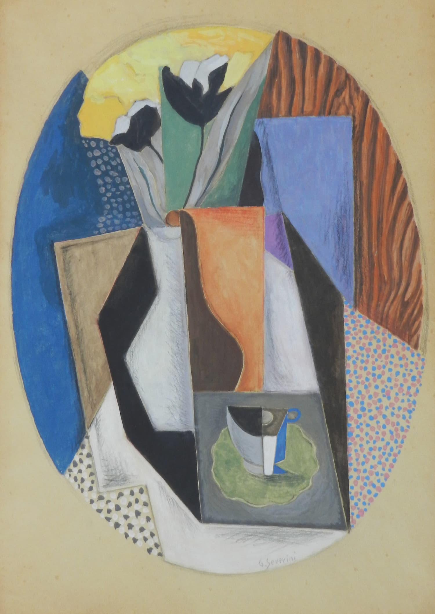 "Gino SEVERINI (1883 - 1966 ) ""Nature morte avec tasse et vase de tulipes"""