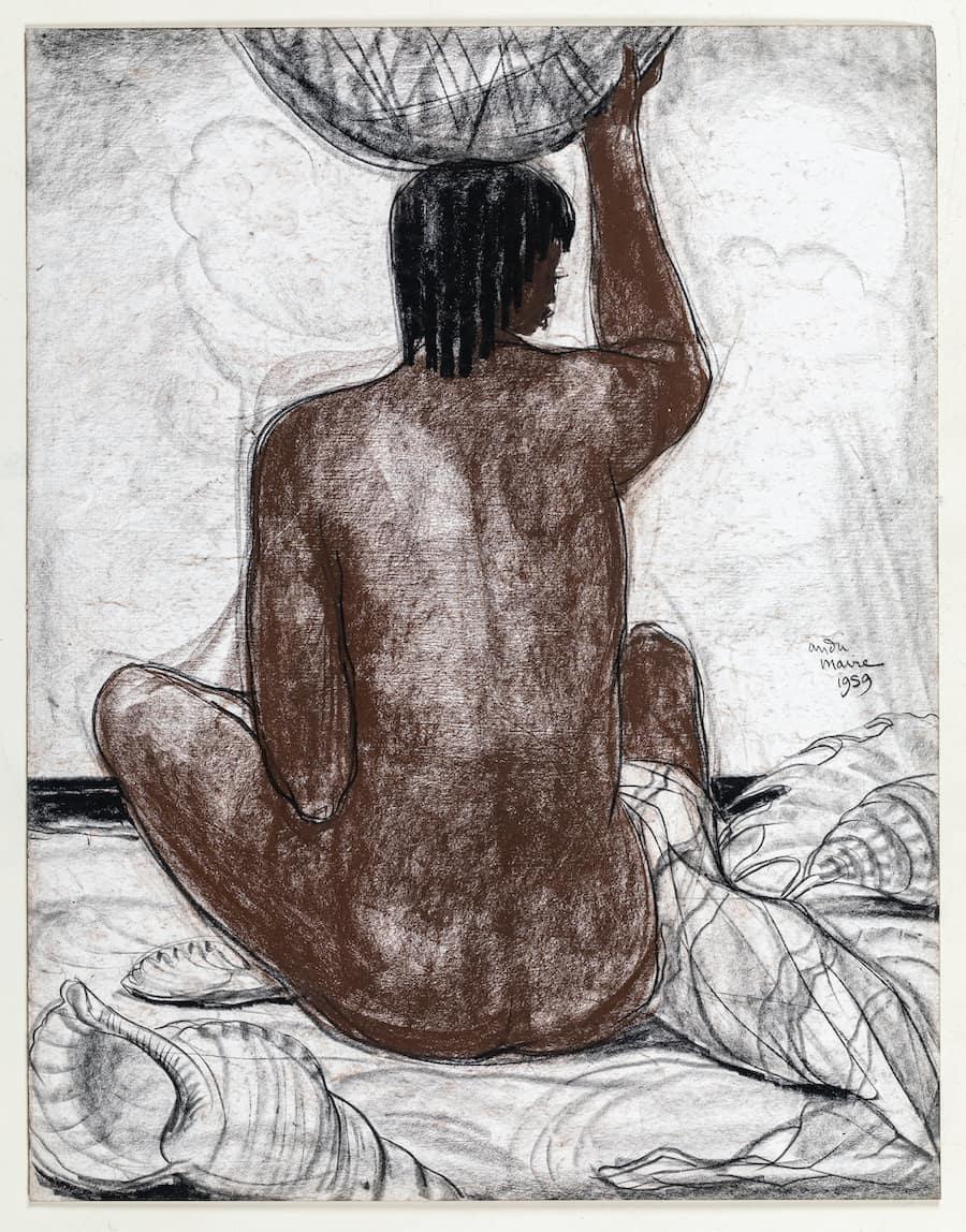 Grassle-harb, André Maire, Un Malgache vu de dos, avec des coquillages